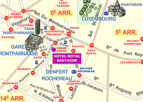 Map And Access How To Reach Us Hotel Elysee Montparnasse Paris - Us hotel map